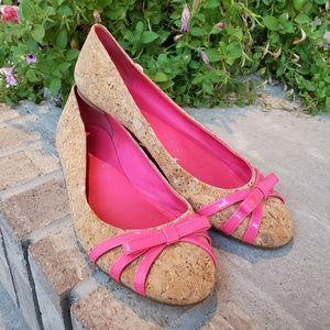 Kate Spade cork pink flats shoes women's